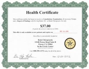 Health Certificate 2013